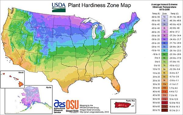 USDA 2012 Zone Map